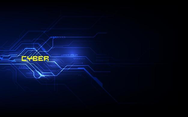 Tecnologia futura de placa de circuito binário, fundo azul do conceito de segurança cibernética, internet digital de alta velocidade abstrata.