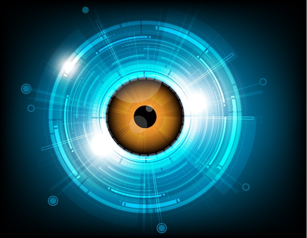Tecnologia futura do globo ocular alaranjado do vetor no fundo azul.