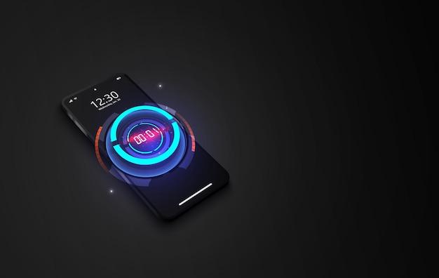 Tecnologia futurista abstrata com conceito de cronômetro digital e contagem regressiva