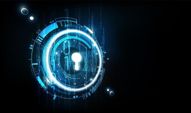 Tecnologia futurista abstrata de buraco de fechadura brilhante com fundo de dados binários digitais.