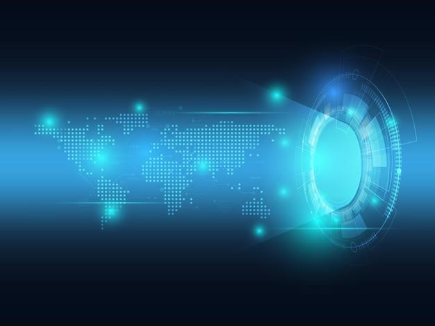 Tecnologia futurista abstrata em azul com fundo de mapa mundial