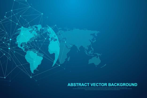 Tecnologia futurista de blockchain do fundo do vetor abstrato. conceito de negócio de rede ponto a ponto. bandeira de vetor de blockchain de criptomoeda global. fluxo de ondas.