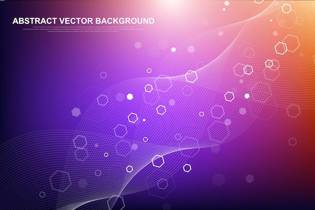 Tecnologia futurista de blockchain do fundo do vetor abstrato. conceito de negócio de rede ponto a ponto.