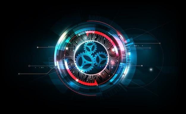 Tecnologia futurista de circuito eletrônico futurista em fundo escuro