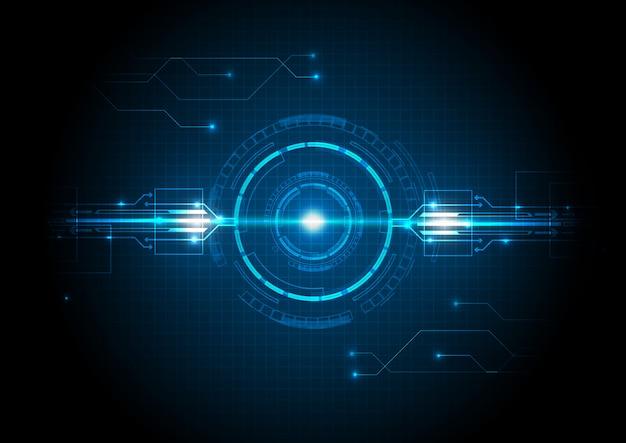 Tecnologia futurista de luz azul com circuito
