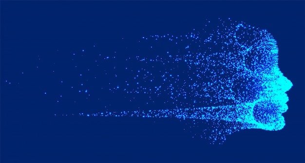 Tecnologia futurista destruindo face da inteligência artificial