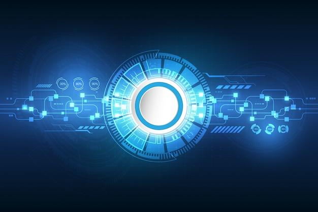 Tecnologia futurista do vetor, roda de engrenagem na placa de circuito.