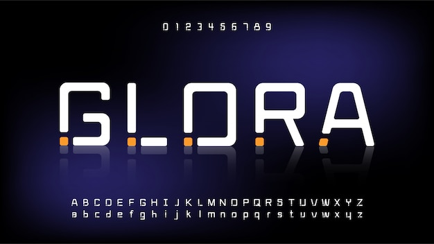 Tecnologia futurista e digital, fontes do alfabeto modernas