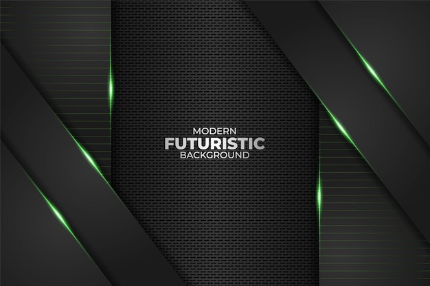 Tecnologia futurista moderna minimalista diagonal sobreposta geométrica brilho verde neon em fundo escuro