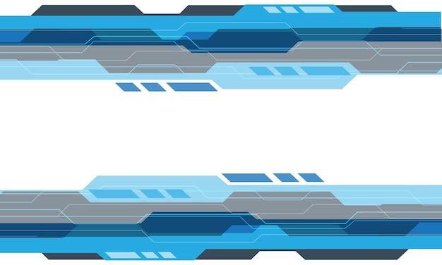 Tecnologia geométrica cibernética cinza azul abstrata em fundo futurista moderno de design branco