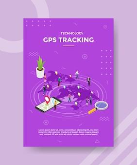 Tecnologia gps de rastreamento de pessoas que estão no mundo do mapa de localização do ponteiro para o modelo de banner e panfleto