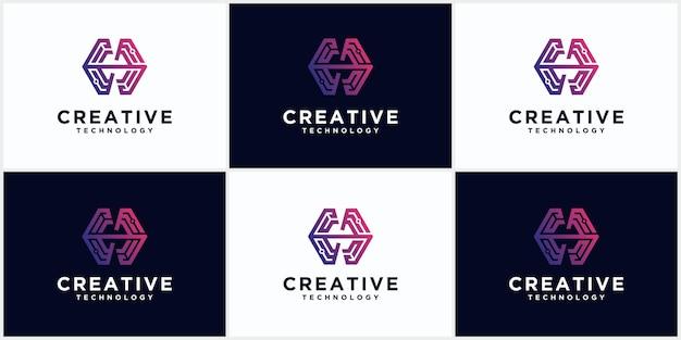 Tecnologia h conjunto de logotipos monograma inicial de espaço negativo letras criativas e minimalistas, design de ícones editáveis de logotipo h em formato