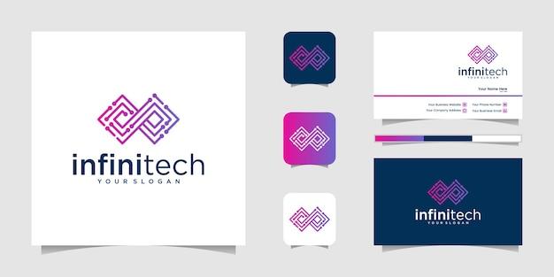 Tecnologia infinita criativa. design moderno de logotipo infinito e negócios