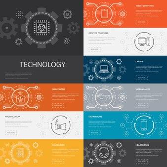 Tecnologia infográfico 10 ícones de linha banners.smart home, câmera fotográfica, computador tablet, ícones simples de smartphone