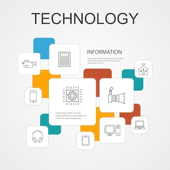 Tecnologia infográfico 10 ícones de linha template.smart casa, câmera fotográfica, computador tablet, ícones simples de smartphone