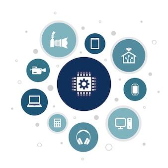 Tecnologia infográfico design de bolha de 10 etapas. casa inteligente, câmera fotográfica, computador tablet, ícones simples de smartphone