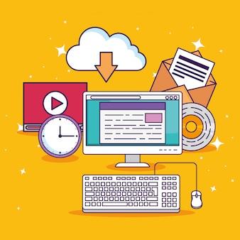 Tecnologia informática com educação de documentos e vídeo