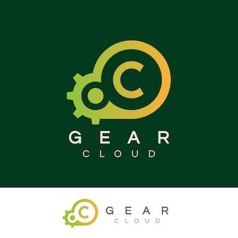 Tecnologia inicial da nuvem c logo design
