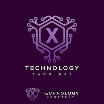 Tecnologia inicial design de logotipo da letra x