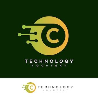 Tecnologia inicial design do logotipo da letra c