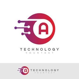 Tecnologia inicial letra a design do logotipo