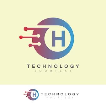 Tecnologia inicial letra h design do logotipo