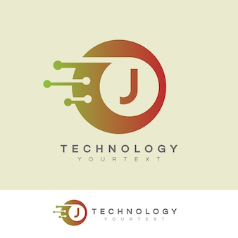 Tecnologia inicial letra j logo design