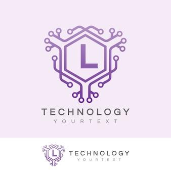 Tecnologia inicial letra l design do logotipo
