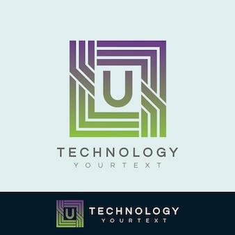 Tecnologia inicial letra u design do logotipo