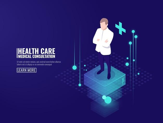 Tecnologia inteligente em cuidados de saúde, médico ficar na plataforma, consulta médica on-line