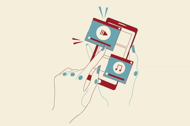 Tecnologia, marketing, mobile, mídias sociais, rede, vídeo, conceito on-line