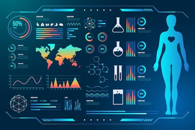 Tecnologia médica com infográficos do sujeito feminino humano
