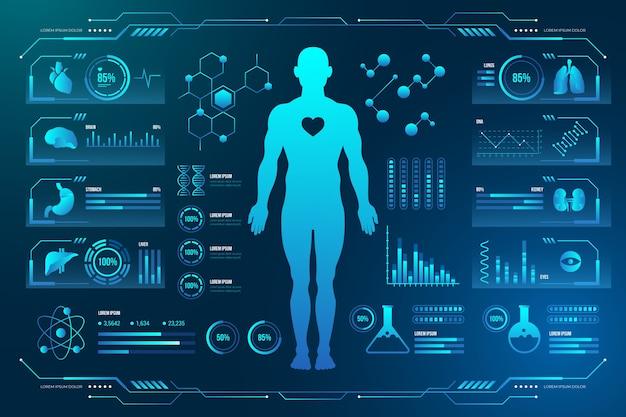 Tecnologia médica com infográficos do sujeito masculino humano