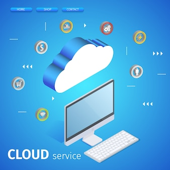 Tecnologia moderna da nuvem e conceito dos trabalhos em rede.