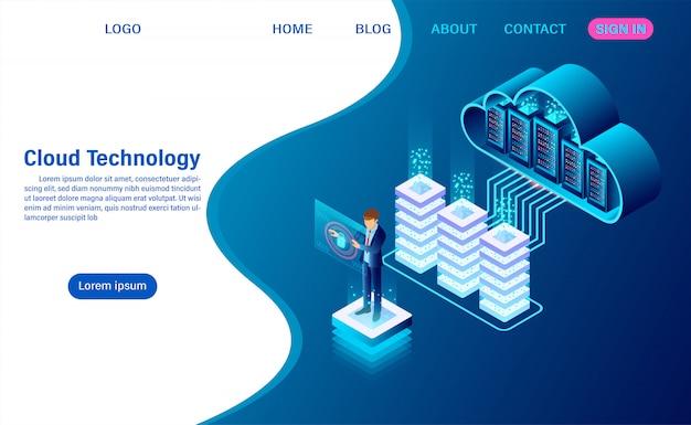 Tecnologia moderna de nuvem e conceito de rede
