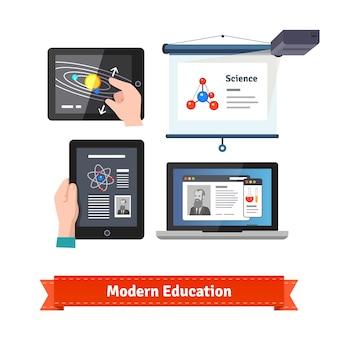 Tecnologia moderna em conjunto de ícones de educação plana