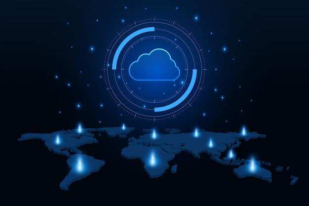 Tecnologia moderna em nuvem, armazenamento on-line futurista e trabalho em casa