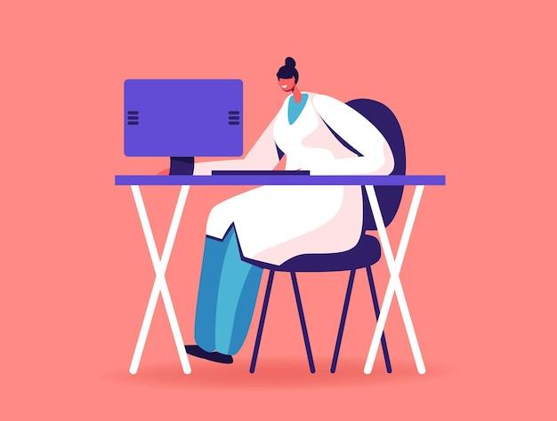 Tecnologia moderna no hospital, personagem médico usando computador para ler relatórios e informações de saúde do paciente por meio de dispositivo digital inteligente online