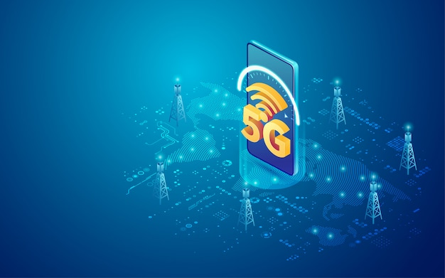 Tecnologia móvel 5g em isométrica