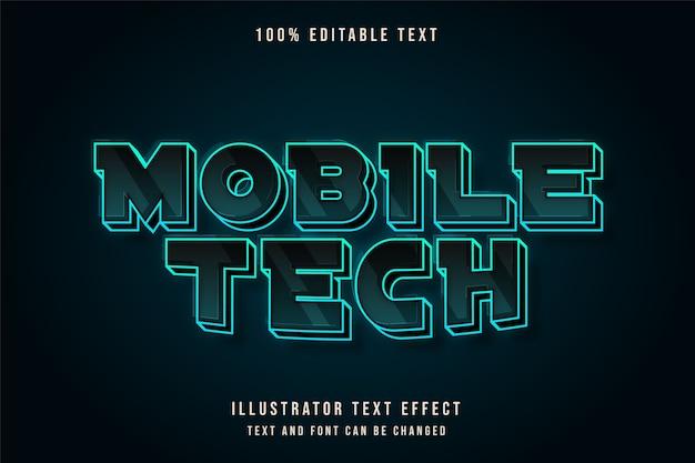 Tecnologia móvel, efeito de texto editável em 3d, efeito de texto de néon de gradação azul