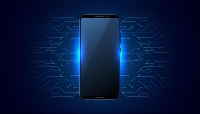 Tecnologia móvel futurista com linhas de circuito