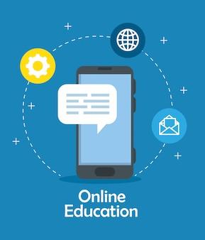Tecnologia online de educação com design ilustração smartphone e ícones