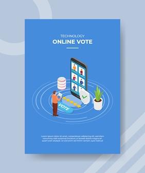 Tecnologia online votação homens em pé usam tablet frente grande smartphone pessoas avaliam estrelas