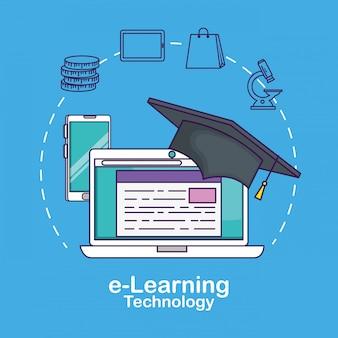 Tecnologia para laptop com graduação de cap e documento digital