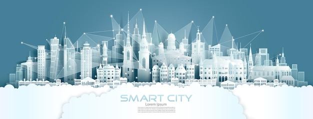 Tecnologia rede sem fio comunicação cidade inteligente com arquitetura na suécia