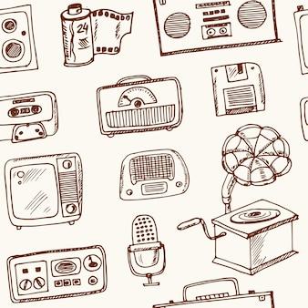 Tecnologia retro desenhada à mão