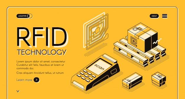 Tecnologia rfid para entrega rastreamento web banner isométrica.