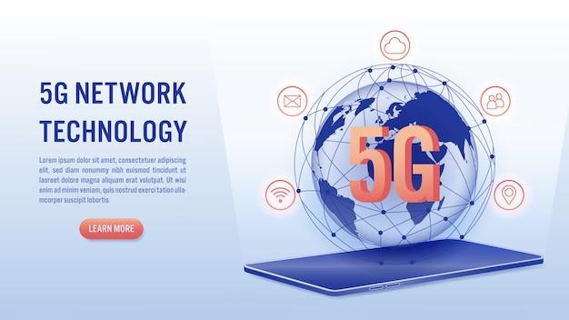 Tecnologia sem fio de rede 5g, conceito de internet de alta velocidade.
