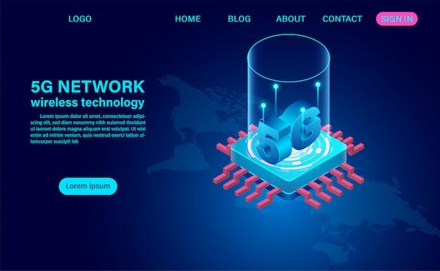 Tecnologia sem fio de rede 5g de alta velocidade. ilustração isométrica design plano