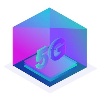 Tecnologia sem fio de rede 5g internet móvel da próxima geração ícone de botão da caixa para o site